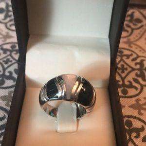 Sterling silver enamel white ring